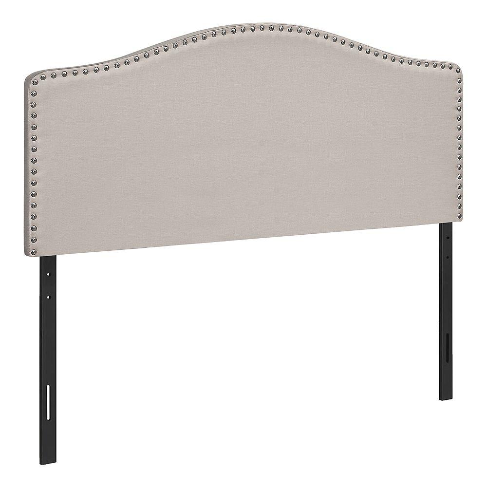 Monarch Specialties Bed - Full Size / Beige Linen Headboard Only