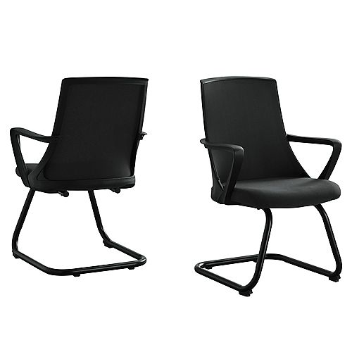 Monarch Specialties Office Chair - 2Pcs / Guest Black Mesh Mid-Back