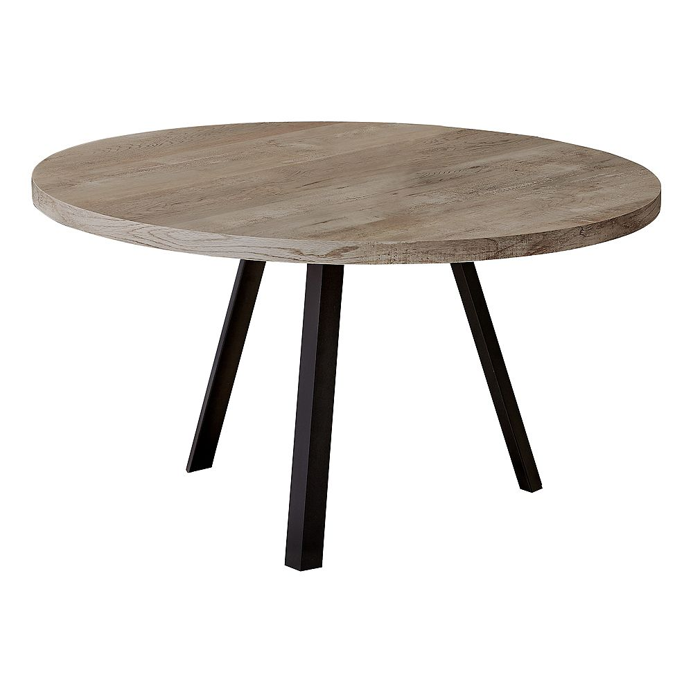 """Monarch Specialties Coffee Table - 36""""Dia/ Taupe Reclaimed Wood / Black Metal"""
