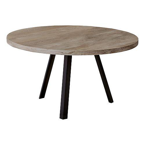 "Coffee Table - 36""Dia/ Taupe Reclaimed Wood / Black Metal"