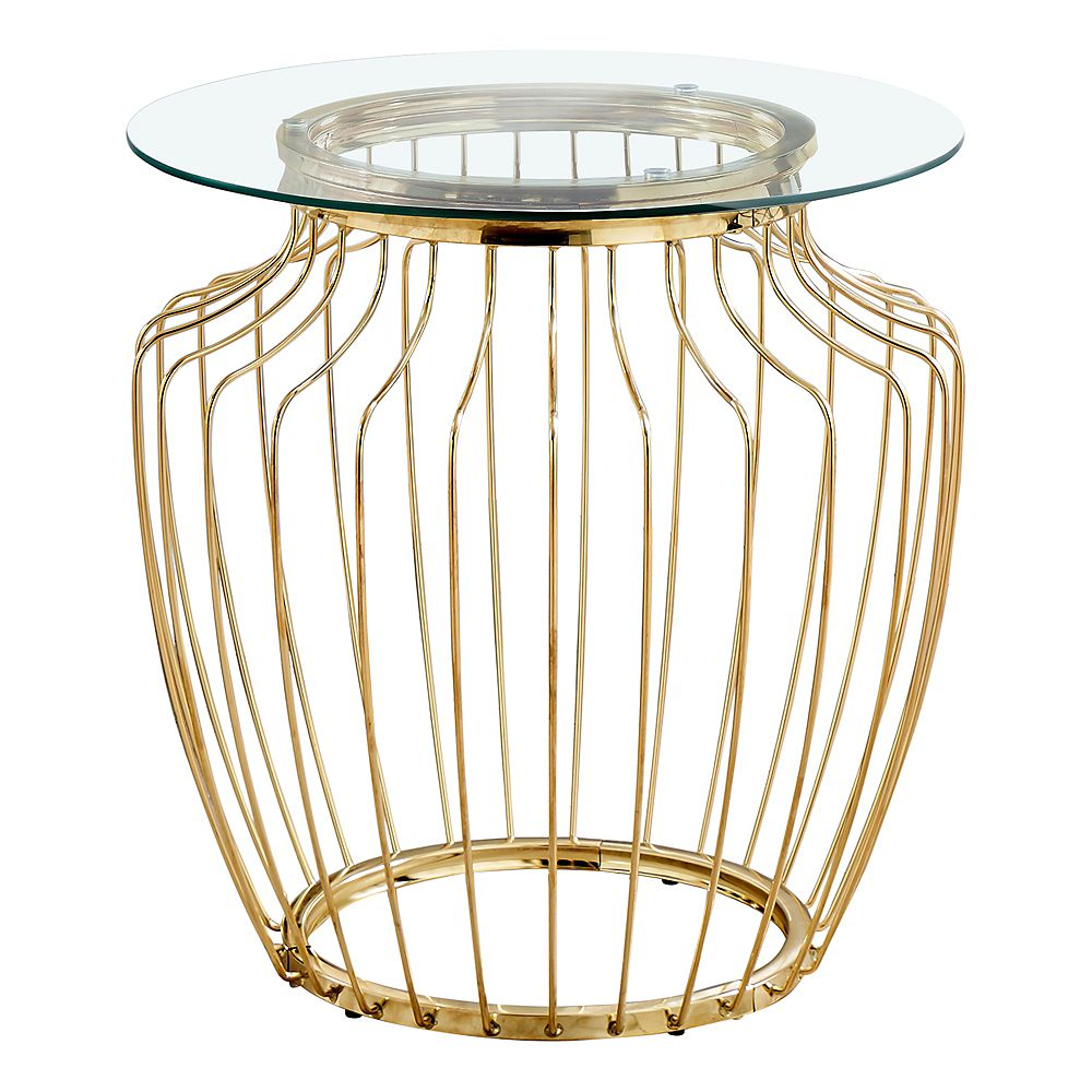 """Monarch Specialties Accent Table - 24""""H / Gold Metal With Tempered Glass"""