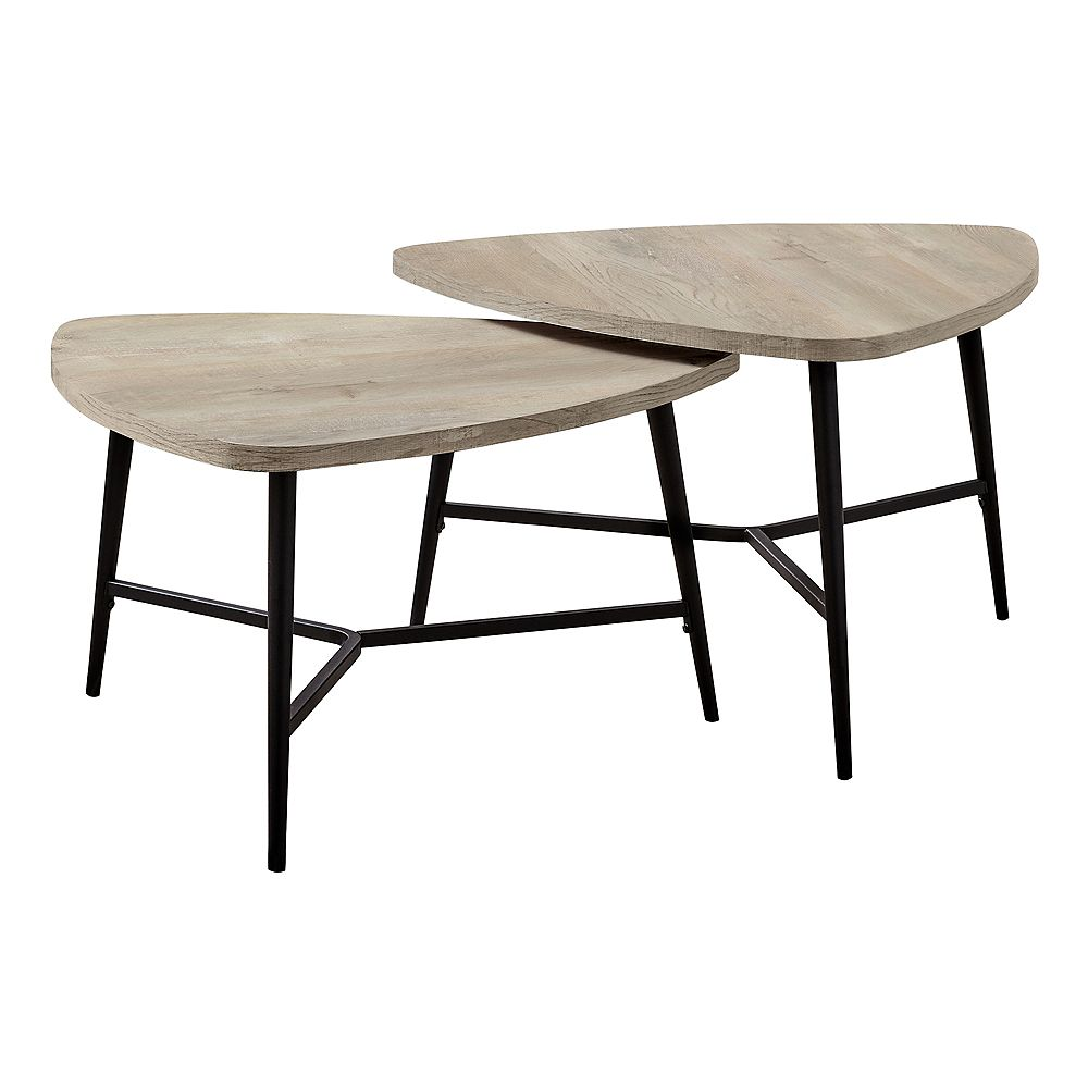Monarch Specialties Table Set - 2Pcs Set / Taupe Reclaimed Wood / Black Metal
