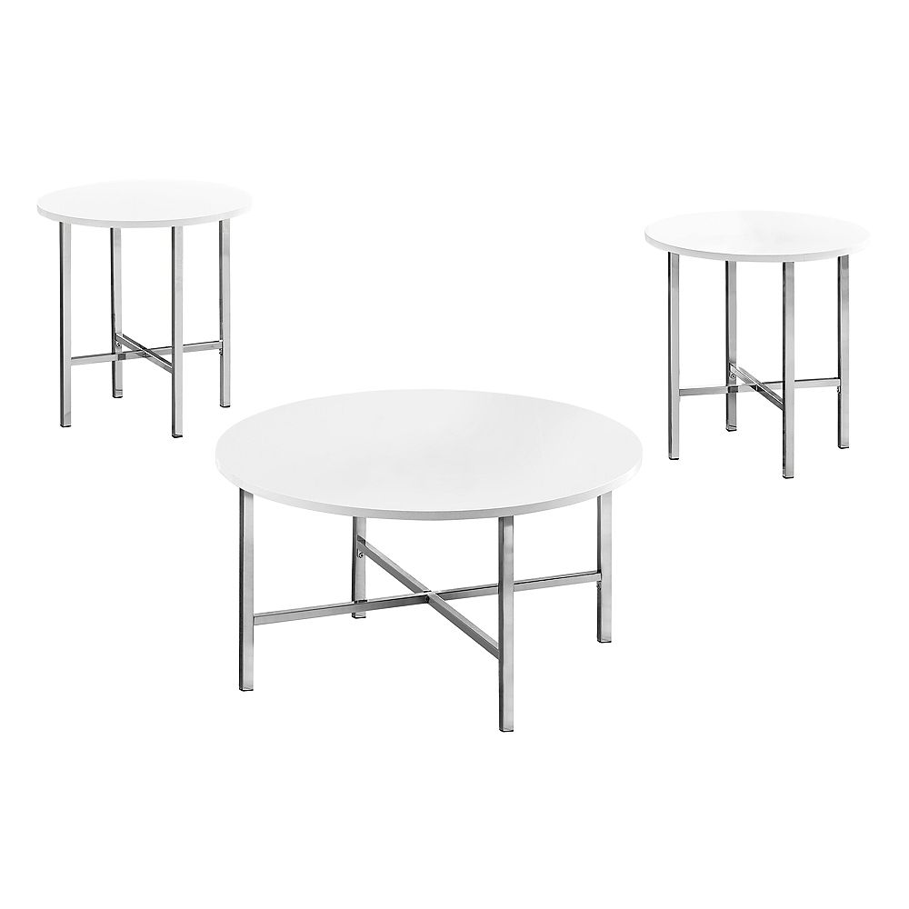 Monarch Specialties Table Set - 3Pcs Set / Glossy White / Chrome Metal