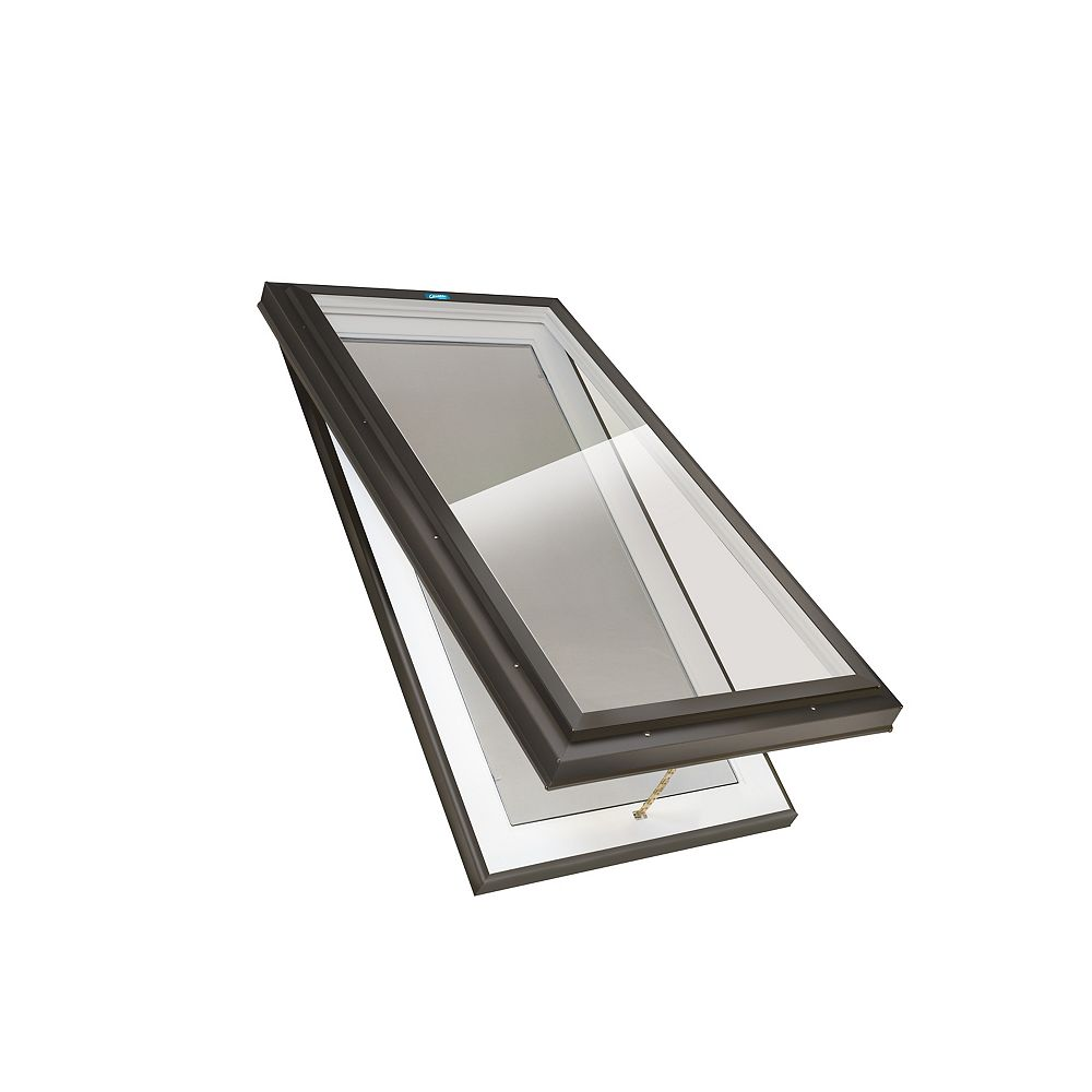 Columbia Skylights 2ft 8in x 4ft Manual Venting Curb Mount LoE3 Double Glazed Bronze Glass Skylight in Brown Frame