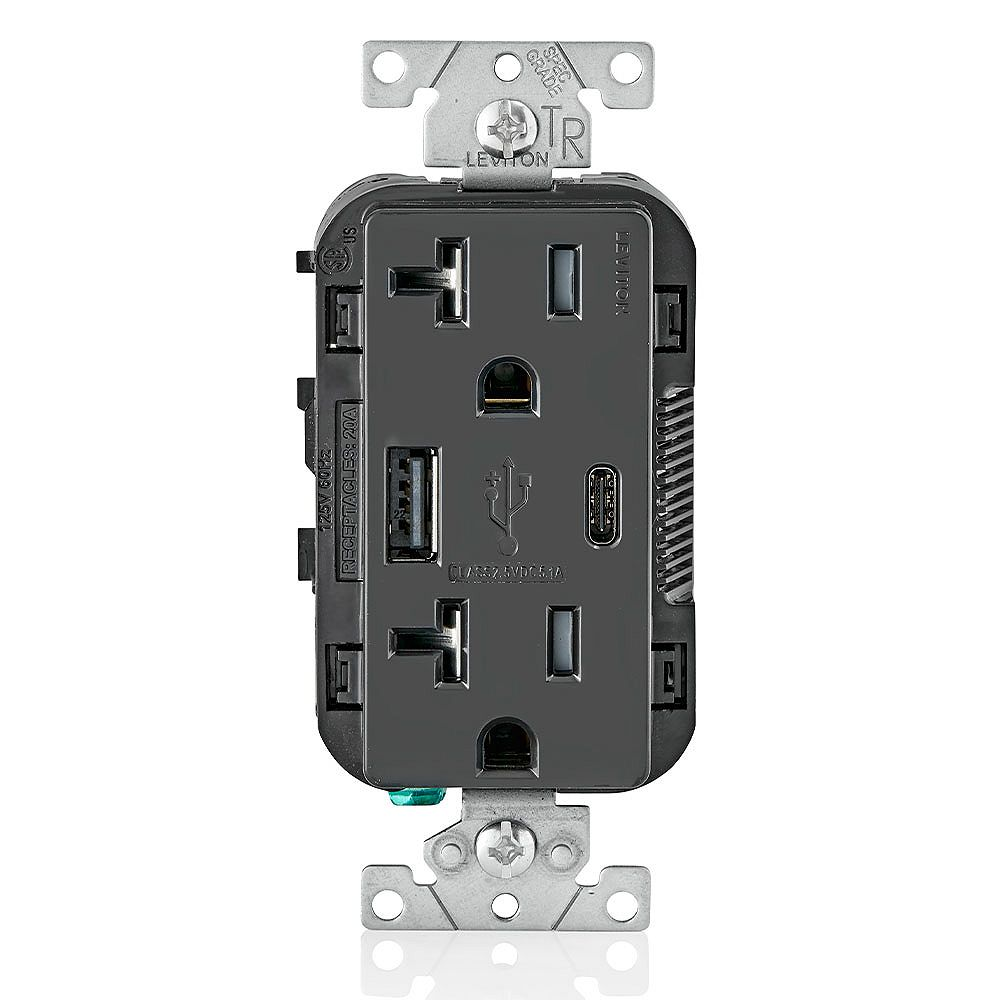 Leviton Decora USB Charger 20A Receptacle 5.1A USB Type A/Type-C, Black