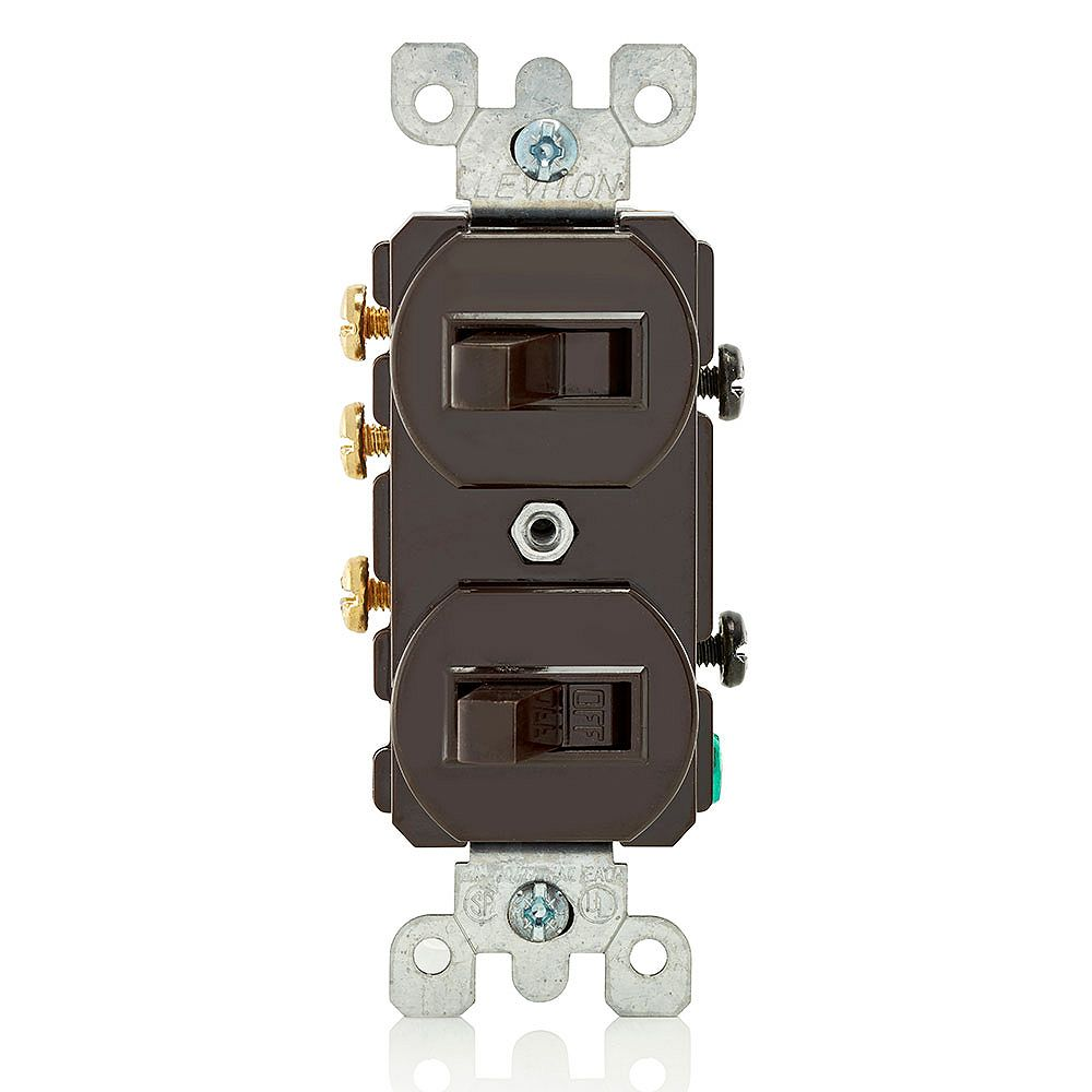 Leviton 15 Amp Commercial Grade Combination Two 3-Way Toggle Switches, Brown