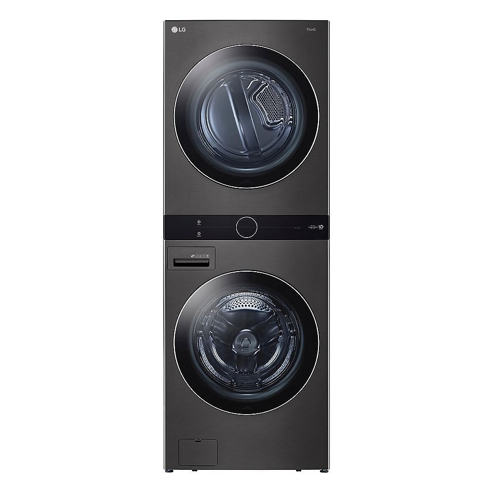 LG Electronics Front Load WashTower Laundry Centre with 5.2 cu. ft. Washer and 7.4 cu. ft. Electric Dryer in Black Steel - ENERGY STAR®