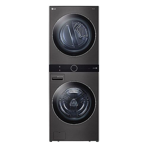 Front Load WashTower Laundry Centre with 5.2 cu. ft. Washer and 7.4 cu. ft. Electric Dryer in Black Steel - ENERGY STAR®