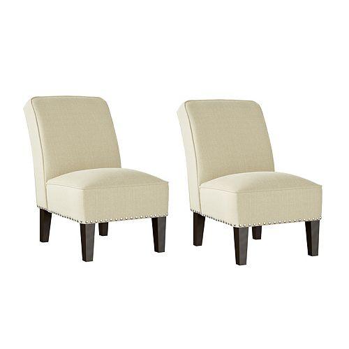 Reames Fabric Slipper Chair in Creamy Oatmeal Tan Linen - Set of 2