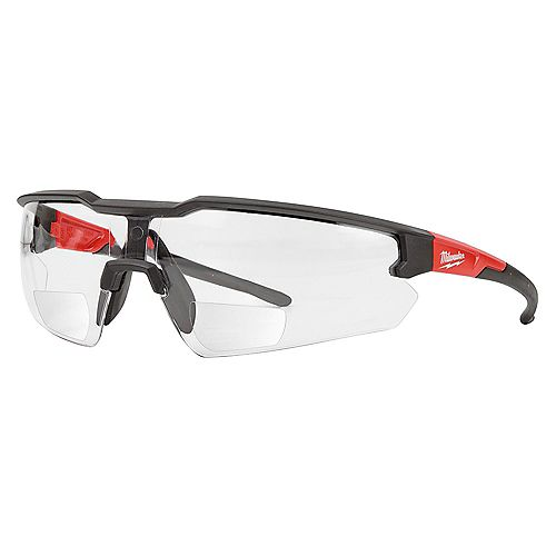 Bifocal Safety Glasses with +2.50 Magnified Clear Anti-Scratch Lenses