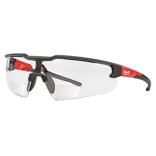 Lunettes de sécurité bifocales avec verres anti-rayures clairs et grossis de +2,50