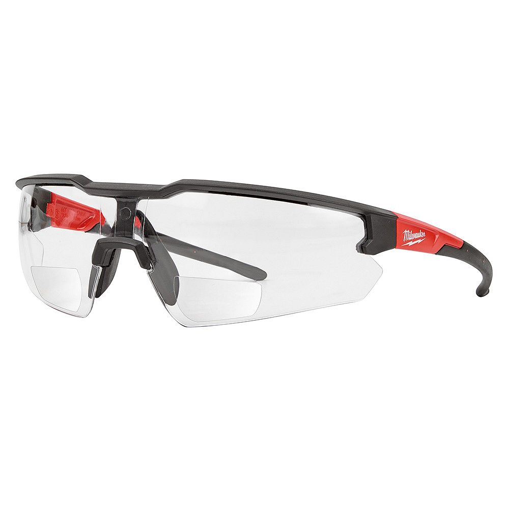 Milwaukee Tool Bifocal Safety Glasses with +2.50 Magnified Clear Anti-Scratch Lenses (Polybag)