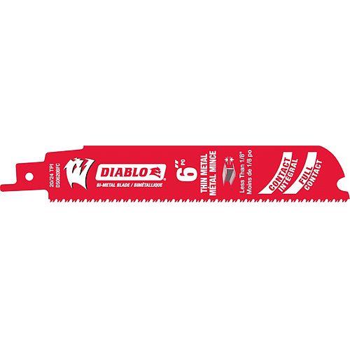 Diablo 6-Inch 20/24 TPI Bi-Metal Reciprocating Saw Blade for Thin Metal Cutting
