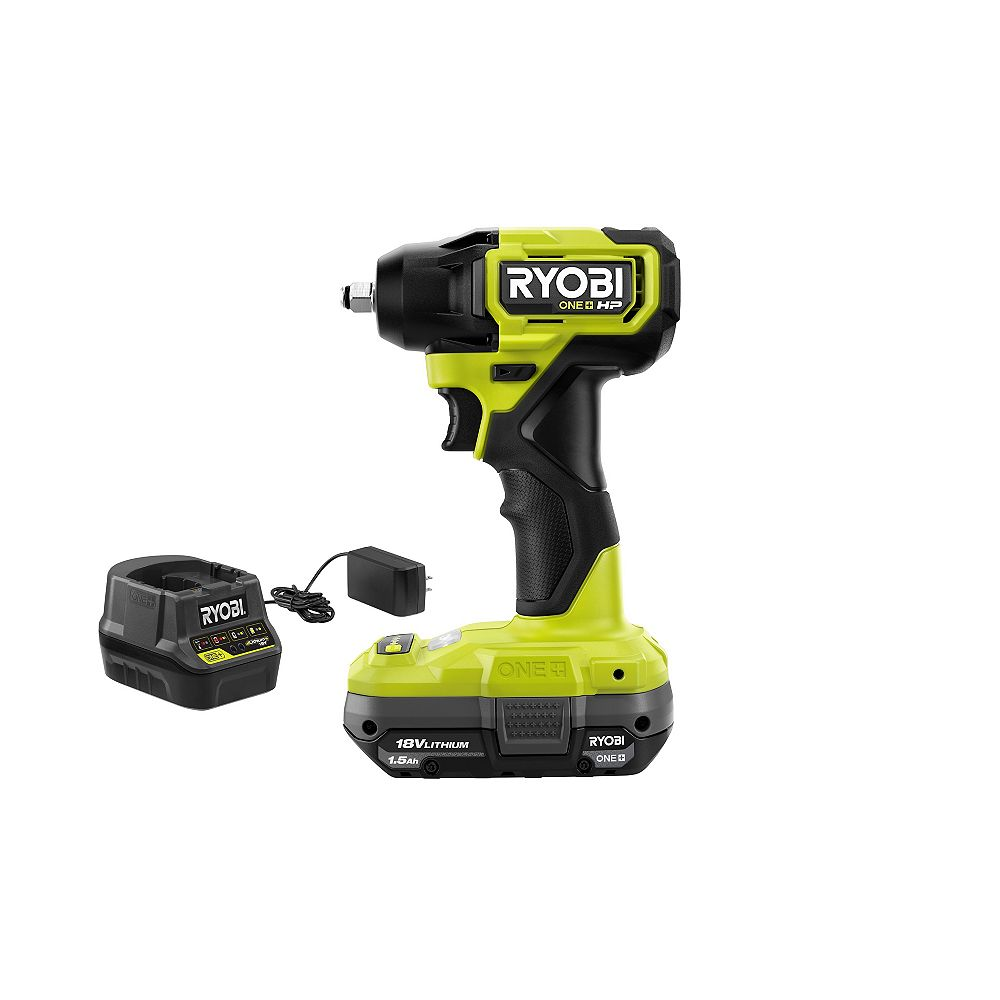 RYOBI 18V ONE+ HP Brushless Cordless Compact 4-Mode 3/8-inch Impact Wrench Kit with 1.5 Ah Battery and Charger