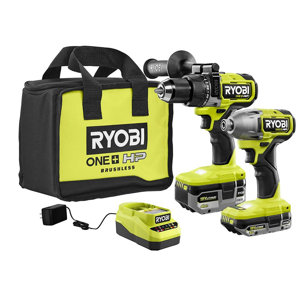 RYOBI 18V ONE+ HP Brushless Cordless Hammer Drill & 3-Speed Impact Driver Kit with (2) HP Batteries, Charger, and Bag
