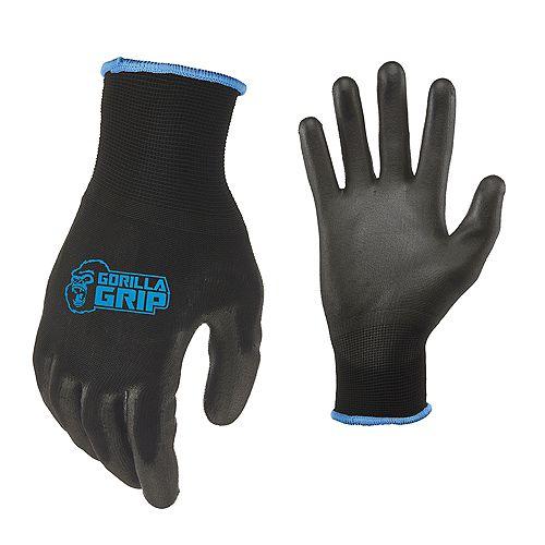 Large Maximum Grip Work Gloves in Black + Black Veil Bonus (4 Pair)