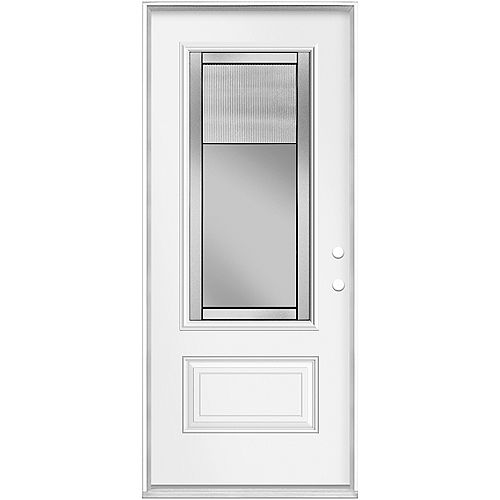 Masonite 36in x 80in x 6 9/16in Pacifica AB 3/4 White Inswing Prehung Steel 3/4 Lite Entry Door Left Hand