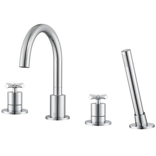 Ancona Ava 2-Handle Roman Tub Bathroom Faucet with Shower Hand in Chrome