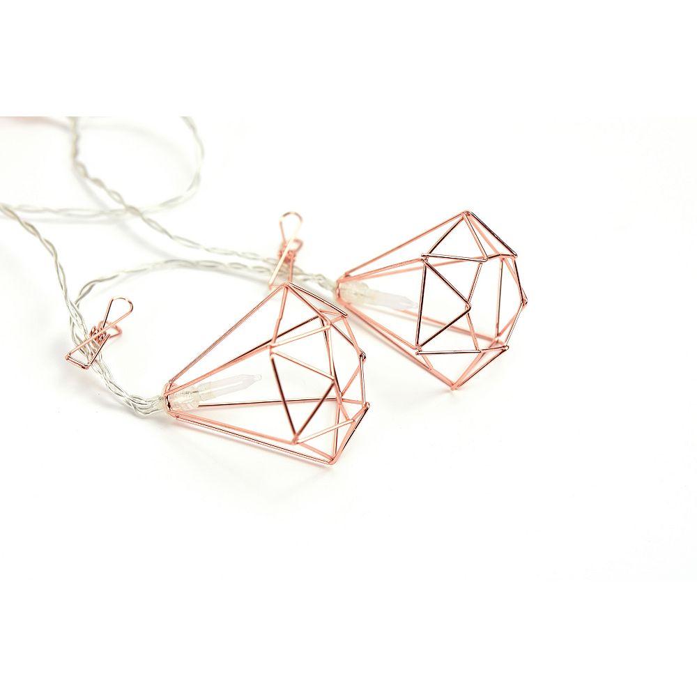 WallPops Rose Gold Diamond Clip String Lights