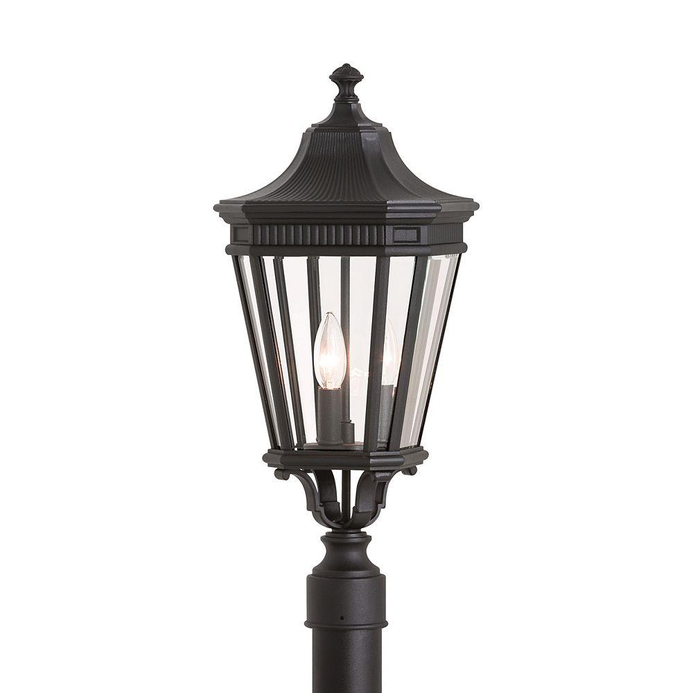 Feiss Collection for Generation Lighting Cotswold Lane Poteau lumineux extérieur en noir à 3 ampoules