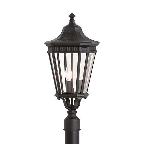 Cotswold Lane Poteau lumineux extérieur en noir à 3 ampoules