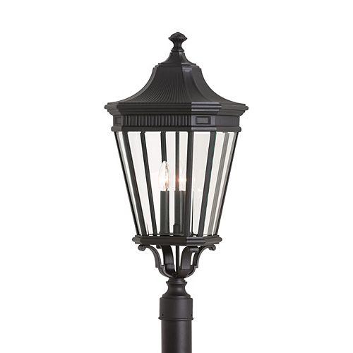 Cotswold Lane Lampe dextérieur poteau en noir à 3 ampoules