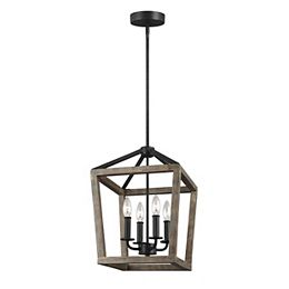 Gannet 12 in. W. 4-Light Weathered Oak Wood and Antique Forged Iron Chandelier