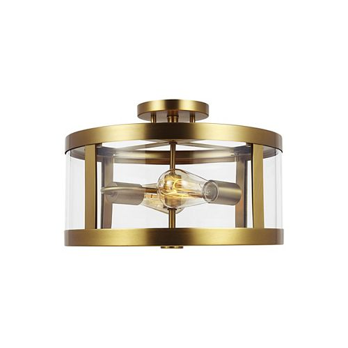 Feiss Collection for Generation Lighting Harrow 15 in. 2-Light Burnished Brass Semi-Flush Mount with Clear Glass Shade