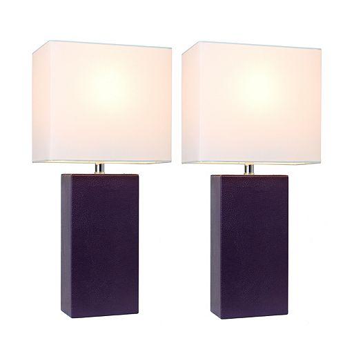 21 pouce Paquet de 2 lampes de table en cuir modernes en tissu blanc, aubergine