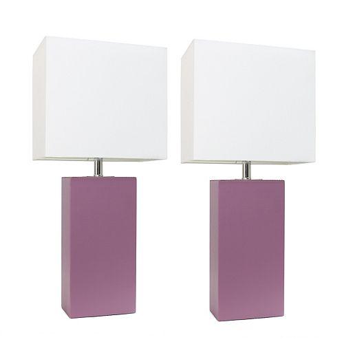 21 pouce Paquet de 2 lampes de table en cuir modernes en tissu blanc, violet