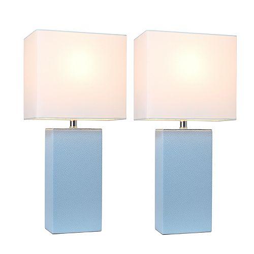 21 pouce Paquet de 2 lampes de table en cuir modernes en tissu blanc, pervenche
