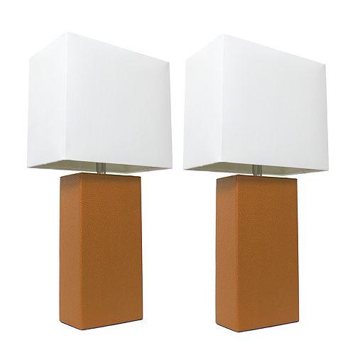 21 pouce Paquet de 2 lampes de table en cuir modernes en tissu blanc, beige