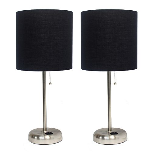19.5 inch Brushed Steel Stick Lamp with Charging Outlet and Fabric Shade Set, Black