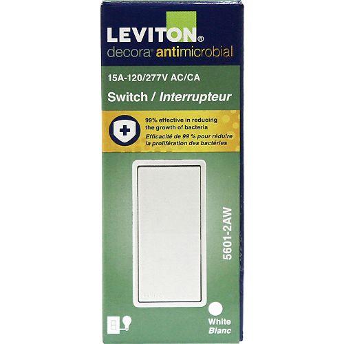 Leviton Decora Antimicrobial 15A Single Pole Light Switch in White