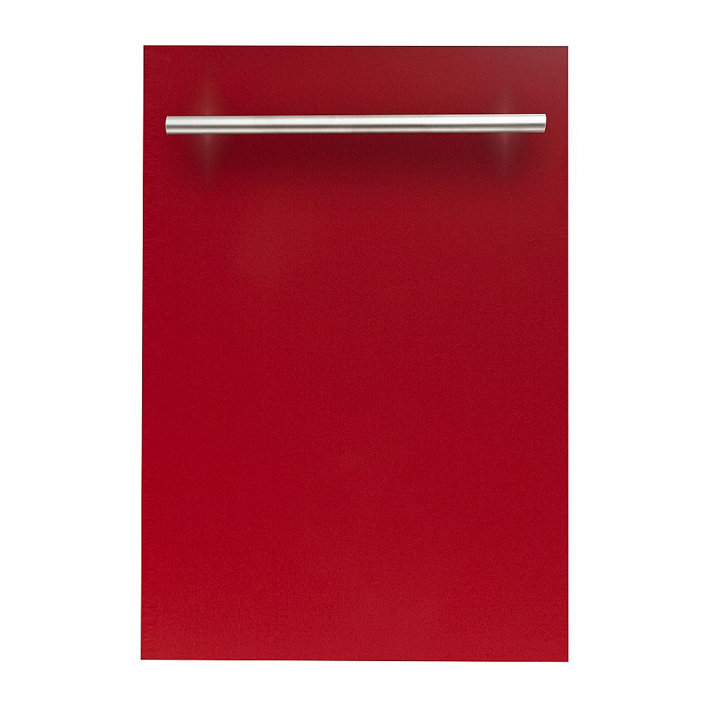 ZLINE Kitchen and Bath 18 in. Dishwasher in Red Gloss with Stainless Steel Tub and Traditional Style Handle