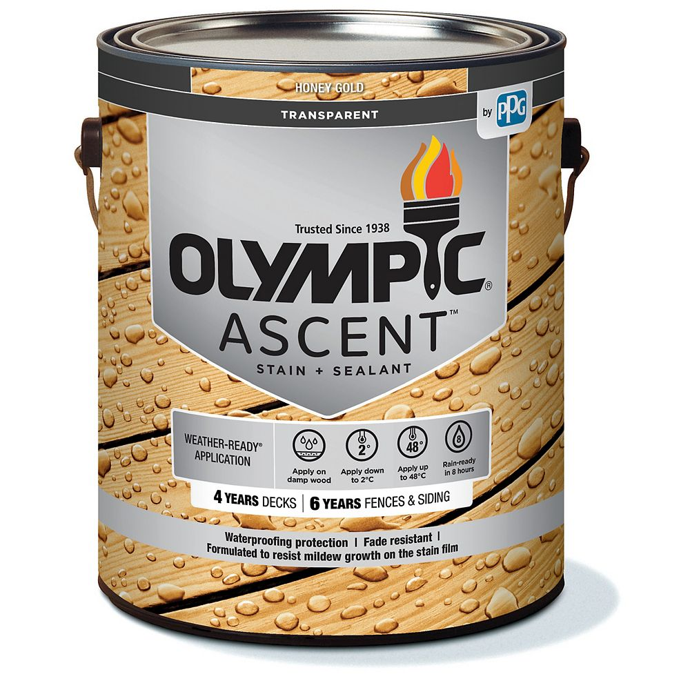 Olympic Ascent Transparent Stain plus Sealant Honey Gold 3.78 L-5640211C