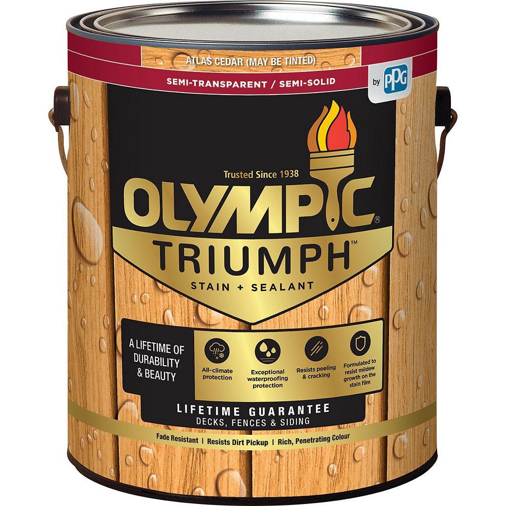 Olympic Triumph Semi-Transparent Semi-Solid Stain Plus Sealant in Atlas Cedar 3.54 L Capacity