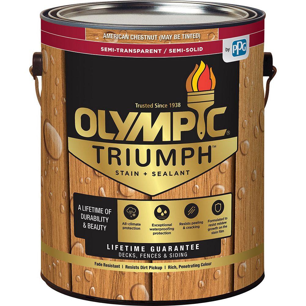 Olympic Triumph Semi-Transparent/Semi-Solid Stain plus Sealant American Chestnut 3.54 L-8121121C