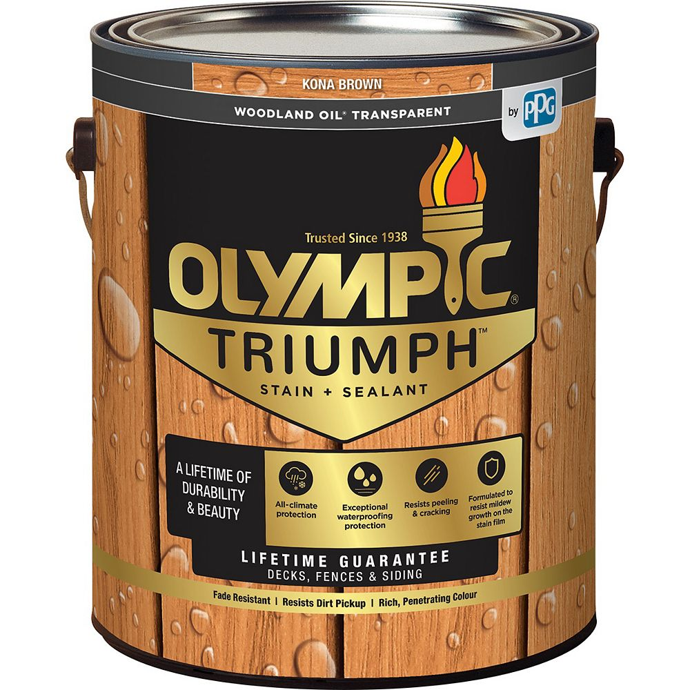 Olympic Triumph Woodland Oil Transparent Stain Plus Sealant in Kona Brown 3.78 L Capacity
