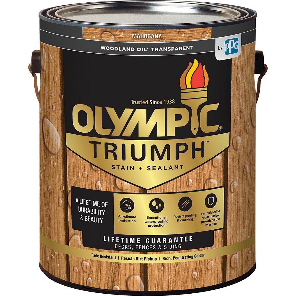Olympic Triumph Woodland Oil Transparent Stain plus Sealant Mahogany 3.78 L-8211721C