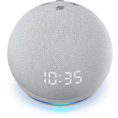 Echo Dot Smart Speaker with clock  (4th Gen) Glacier White