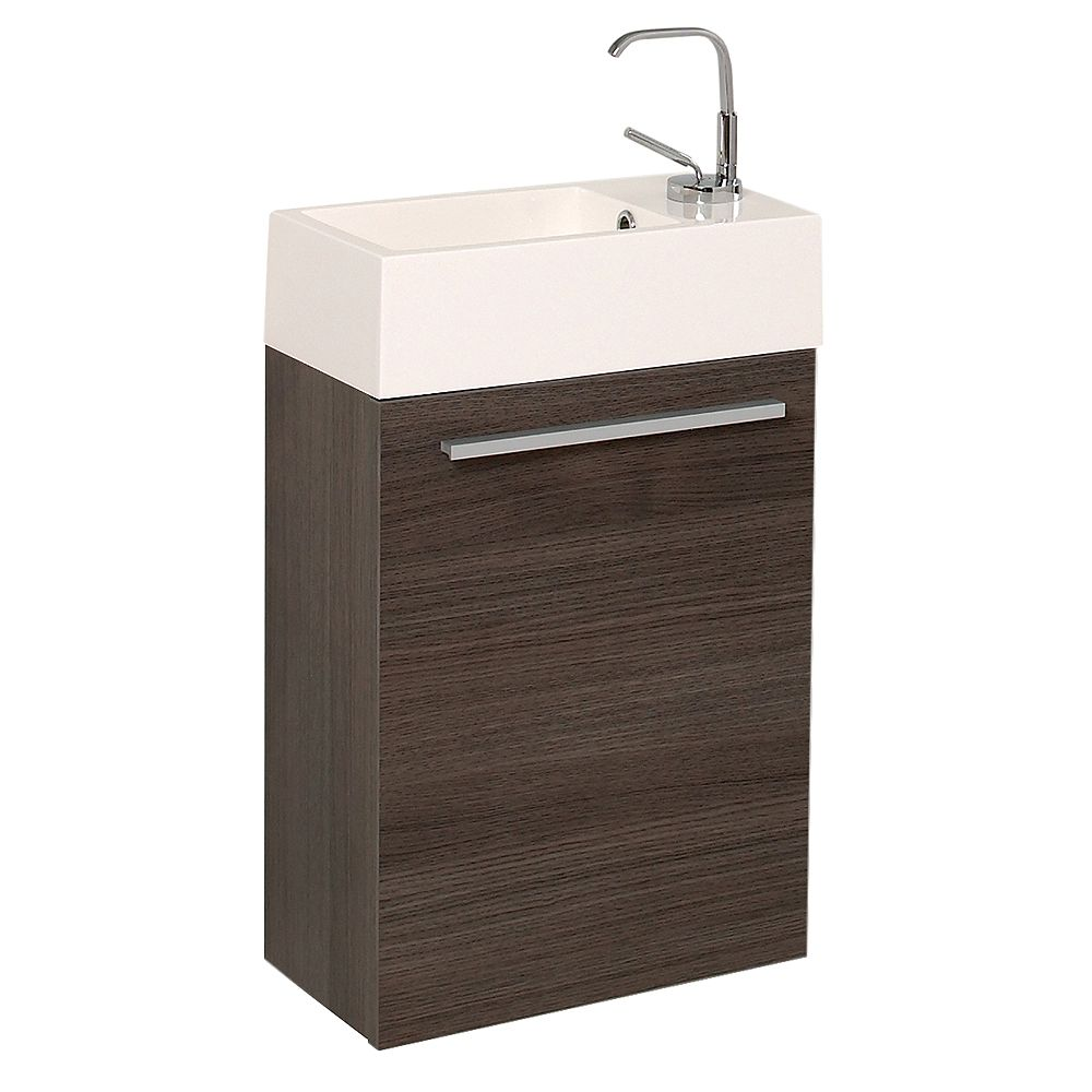 Fresca Pulito 15.5 in. Gray Oak Wall Hung Modern Bathroom Vanity with Acrylic Top