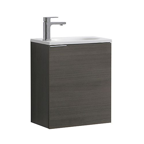 Valencia 20 in. Gray Oak Wall Hung Modern Bathroom Vanity with Acrylic Top
