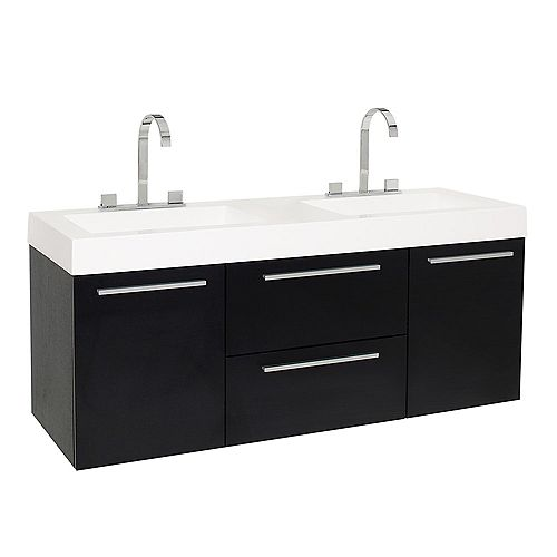 Fresca Opulento 54 in. Black Wall Hung Double Modern Sink Bathroom Vanity with Acrylic Top