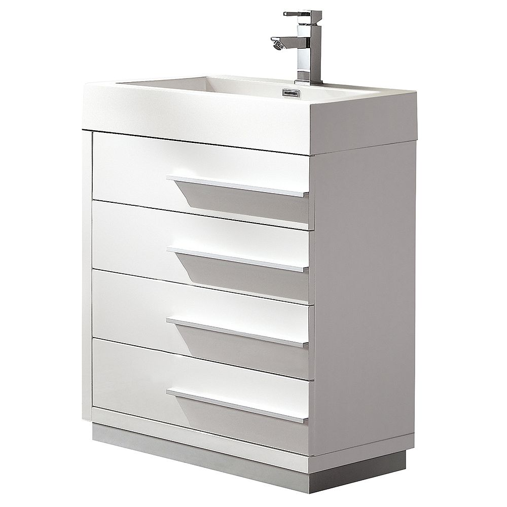 Fresca Livello 24 in. White Freestanding Modern Bathroom Vanity with Acrylic Top