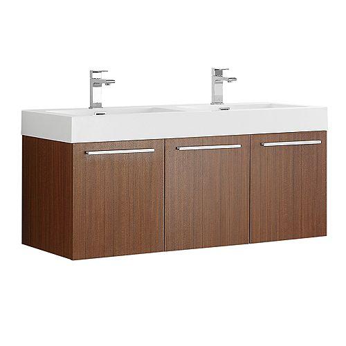Fresca Vista 47.3 in. Teak Wall Hung Double Modern Sink Bathroom Vanity with Acrylic Top