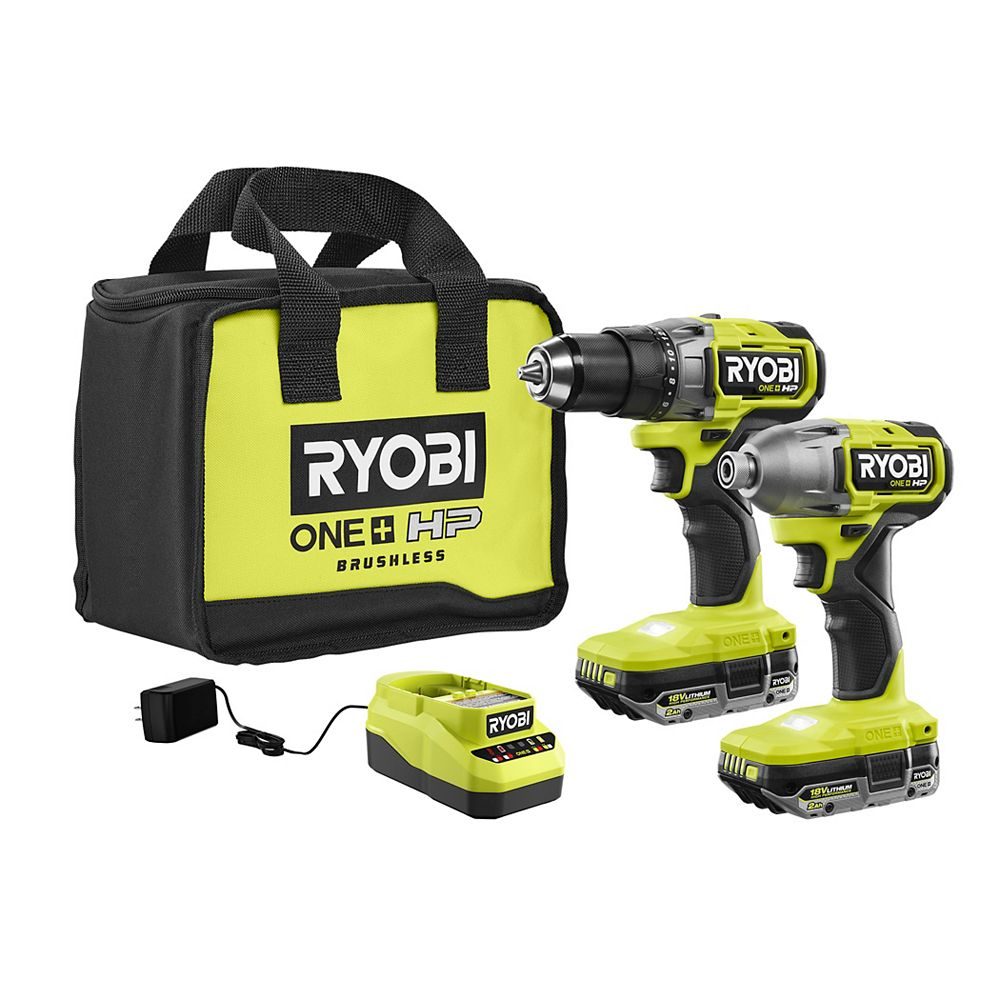 RYOBI 18V ONE+ HP Brushless Cordless Drill/Driver & Impact Kit with (2) HP Batteries, Charger, and Bag