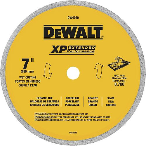 7-Inch Dry or Wet Cutting Continuous Rim Saw Blade with 5/8-Inch Arbor for Ceramic or Tile (DW4760)