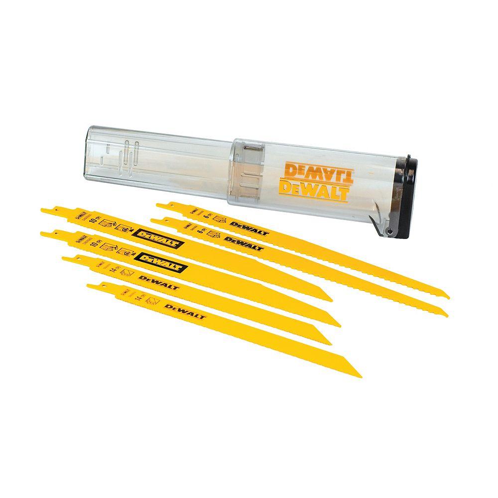 DEWALT 6 Piece Bi-Metal Reciprocating Saw Blade Set With Telescoping Case (DW4896)