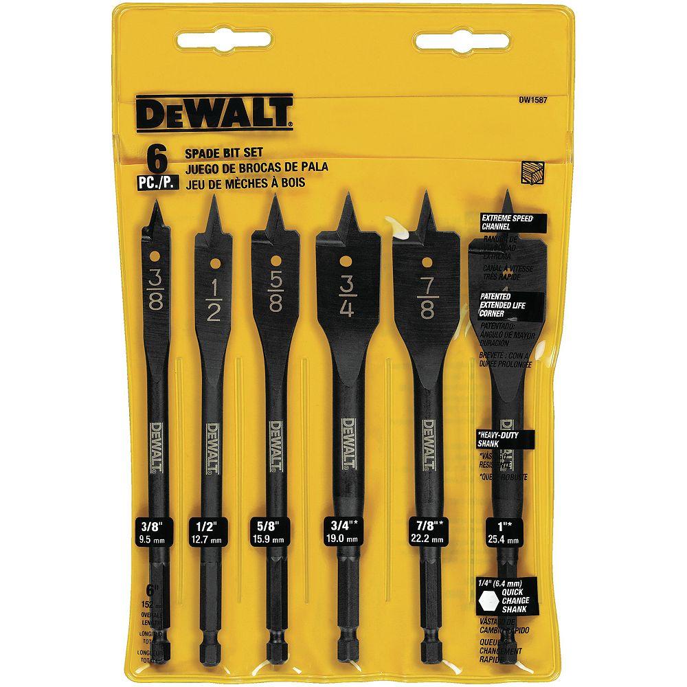 DEWALT 6 PC Heavy Duty Spade Bit Set (DW1587  Y)